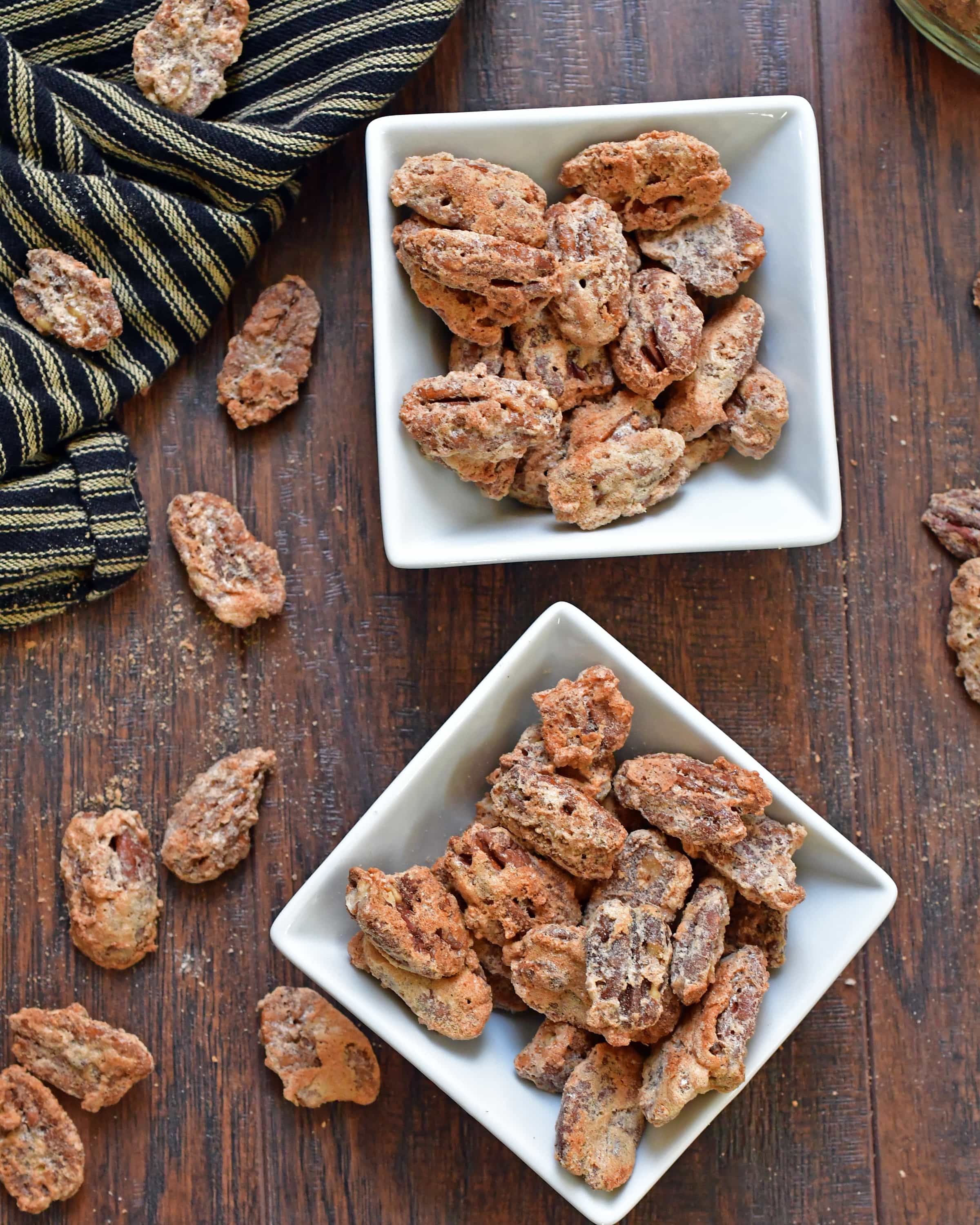 These cinnamon candied pecans are simple to make; full of cinnamon flavor and crunch.