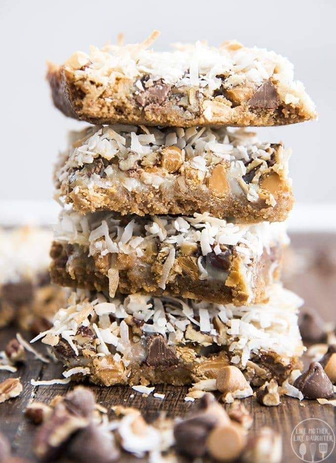 Magic cookie bars are layer upon layer of goodness with a buttery graham cracker crust, butterscotch chips, chocolate chips, pecans, coconut and sweetened condensed milk, for the ultimate sweet treat.