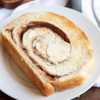 A slice of cinnamon swirled bread toasted