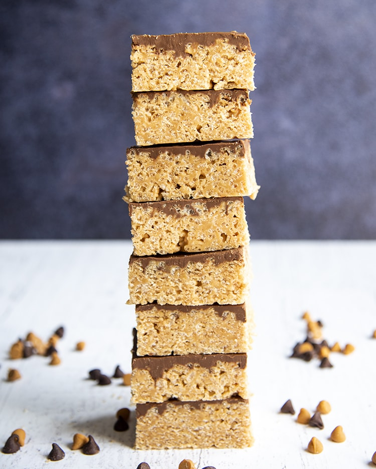 A giant stack of no bake scotcheroo bars