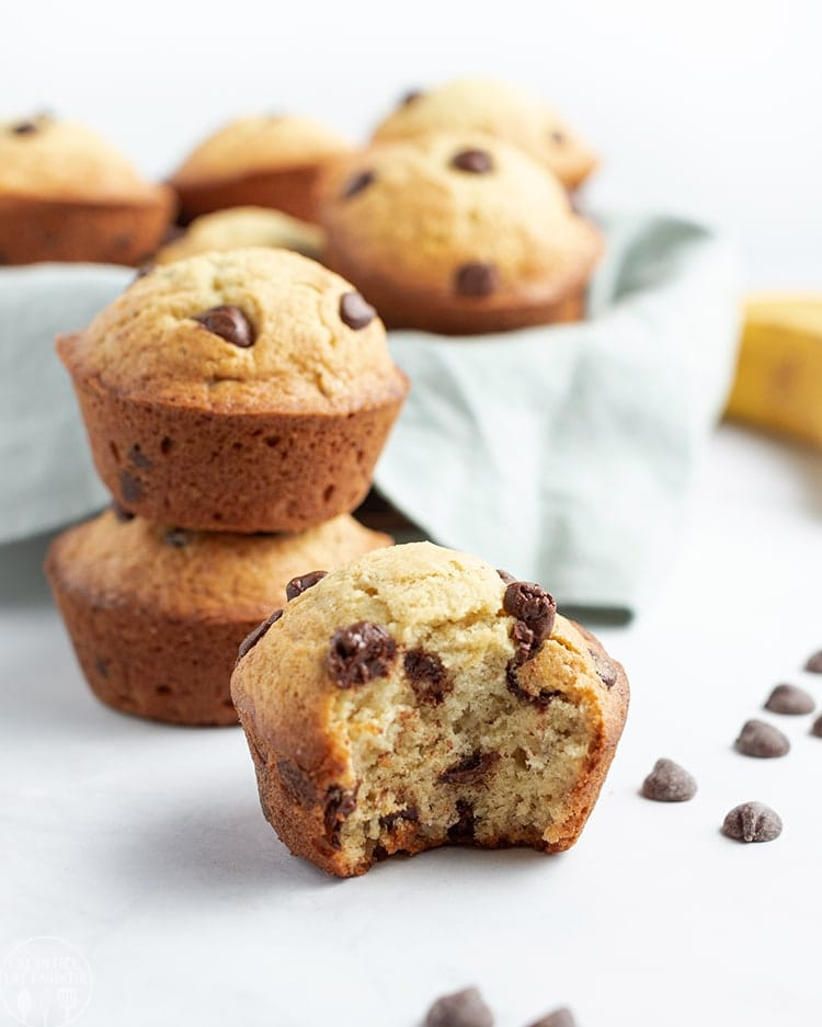 These banana chocolate chip muffins are a sweet and moist banana muffin, packed full of chocolate chips. They're perfect for breakfast, or a snack!
