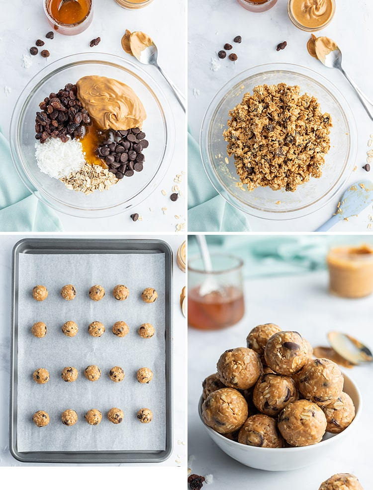 Step by step photos of how to make no bake granola bar bites. The first is the ingredients needed in a bowl. The second is the ingredients mixed together. The third is rows of granola bites on a baking pan. The fourth is granola bar bites in a white bowl.