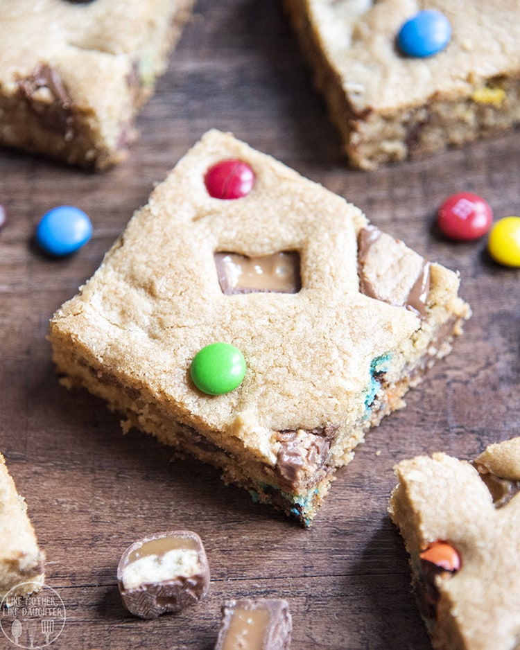 Cookie Bars filled with Chocolate Candy pieces