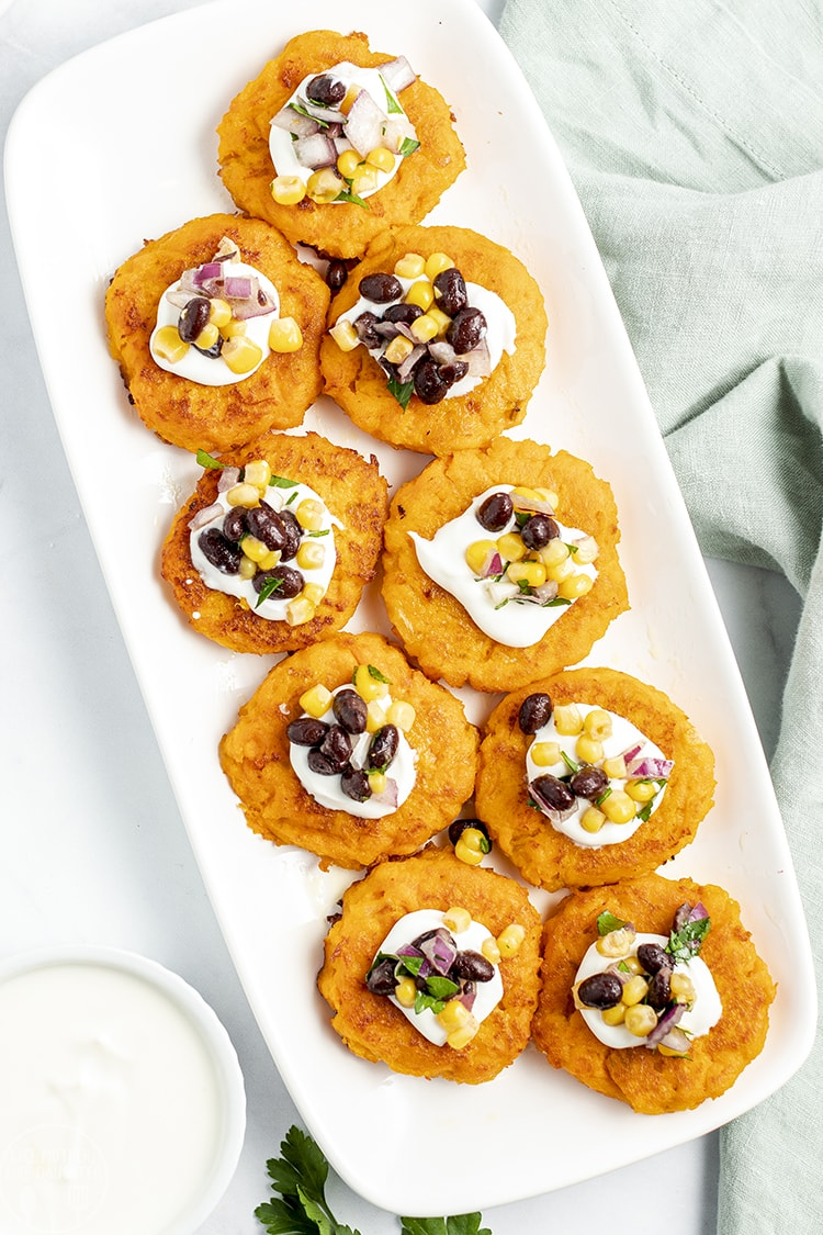 Sweet Potato Patties with corn salsa on top
