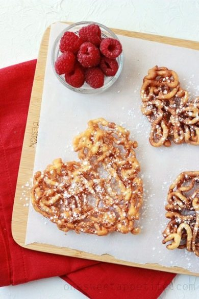 heart shaped funnel cakes