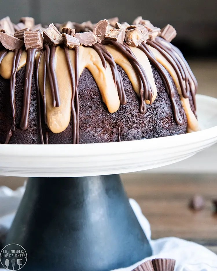 Chocolate Peanut Butter Cake with a chocolate batter, peanut butter batter, and chocolate ganache and peanut butter ganache