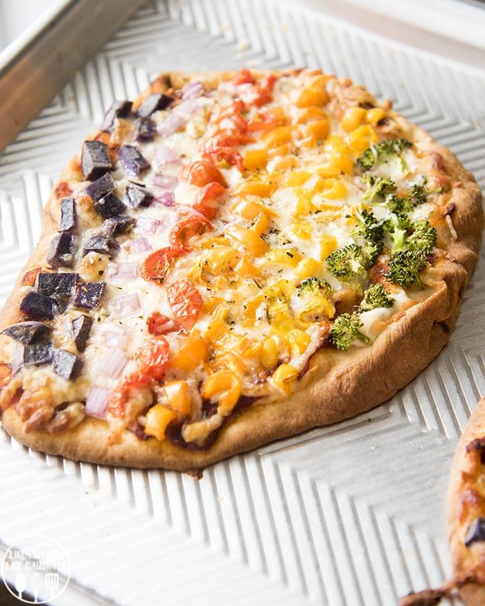 Rainbow Vegetable Pizza