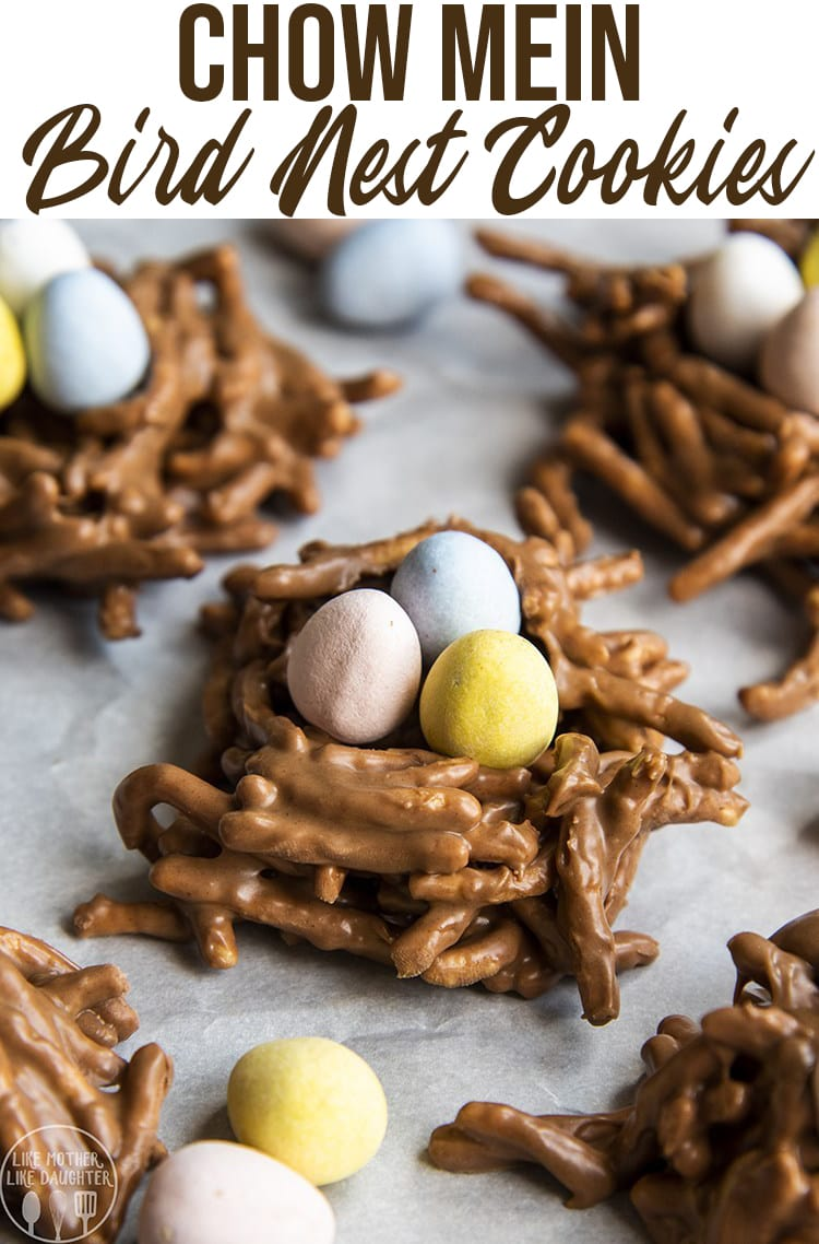 These cute chow mein Birds Nest Cookies are so fun for Easter. They combine chocolate, butterscotch, and peanut butter topped with your favorite chocolate Easter eggs, for the perfect Easter treat.