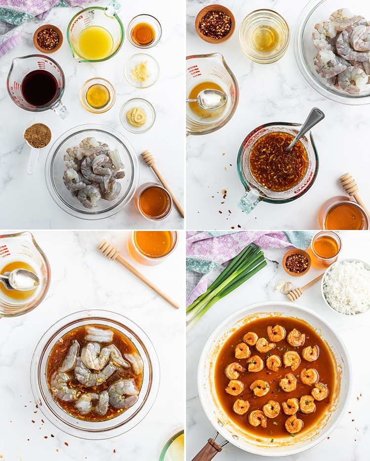 Step by step photos in a collage showing how to make honey glazed shrimp. Showing the ingredients needed to make the shrimp, the marinade in a small bowl, the marinade on the shrimp, then the shrimp being cooked in the marinade in a saute pan.