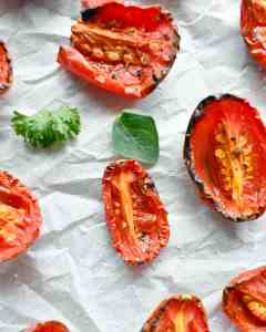 Roasted tomatoes are roasted with a little salt and pepper to make your tomatoes even sweeter. Enjoy as a snack or add to recipes.