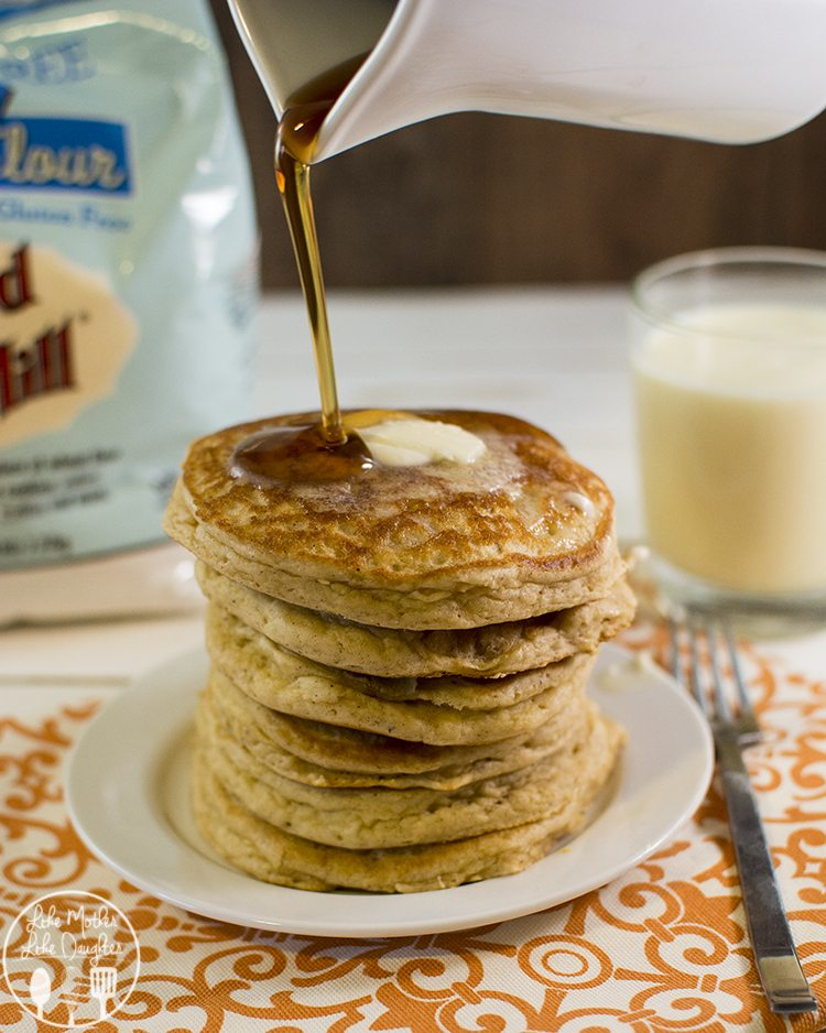 Gluten Free Eggnog Pancakes - These pancakes have that delicious eggnog taste for a perfect holiday breakfast