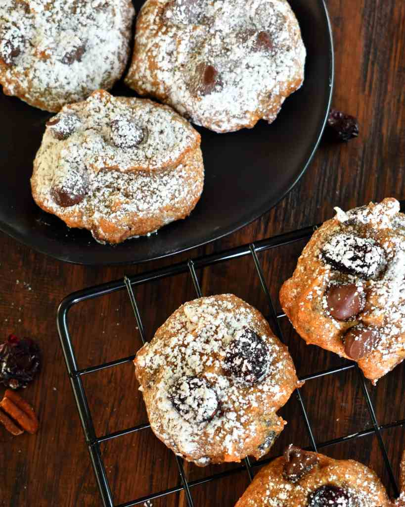 Persimmon Chocolate Chip Cookies are a fruity cookie made from persimmon puree, a dash of cinnamon, flavorful craisins, and chocolate chips.