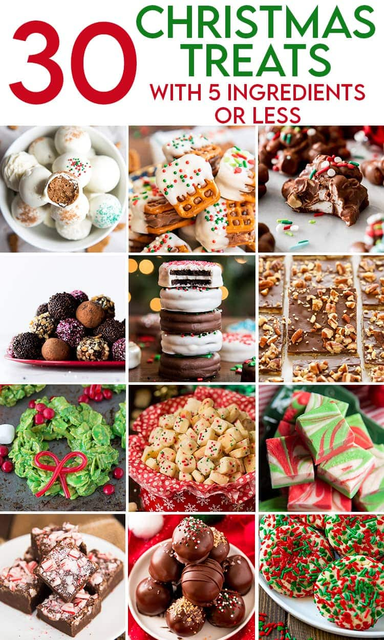 A collage of photos of different Christmas treats with 5 ingredients or less. There are Gingerbread Truffles. Then Pretzel Candy Bar Bites. Then Slow Cooker Candy. Then Chocolate Truffles. Then Chocolate Covered Oreos. Then Saltine Toffee. Then Cereal Christmas Wreaths. Then Funfetti Shortbread Bites. Then Swirled Fudge. Then Peppermint Fudge. Then Nutter Butter Truffles. Then Christmas Sugar Cookies.