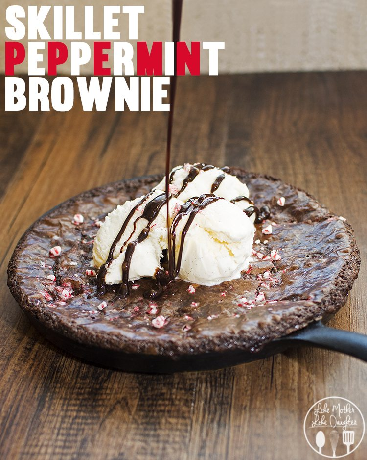 Skillet Peppermint Brownie - This skillet peppermint brownie is the perfect combination of chocolate and peppermint topped with your choice of ice cream. The hot gooey brownie with the cold slightly melted ice cream is pure perfection. Plus its easy to make because the base is a brownie mix!