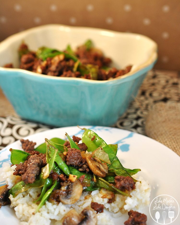 Asian Beef with Snow Peas and Mushrooms - for a delicious and flavorful dish, try this combo of flavors to get you out of the rut of cooking the same thing every week!