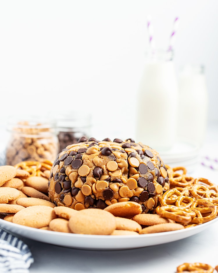 A peanut butter cheese ball wrapped in chocolate chips and peanut butter chips on a plate with pretzels and cookies with milk in the background.