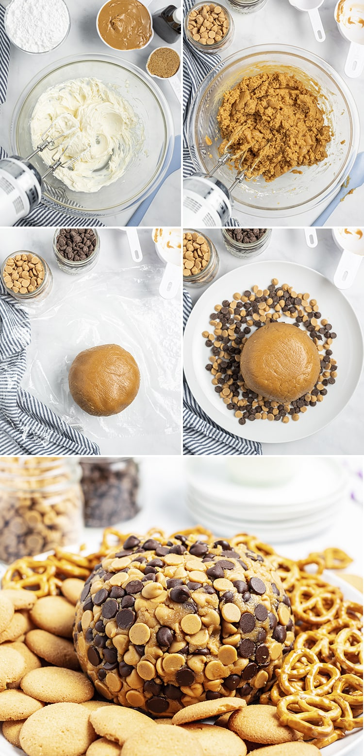 Step by step photos of how to make a peanut butter cheese ball. The first is a photo of cream cheese in a bowl. The second is a photo of the peanut butter added to the bowl. The third is the cheese ball on plastic wrap. The fourth is the cheese ball on a plate of chocolate chips, The last is the completed peanut butter cheese ball.