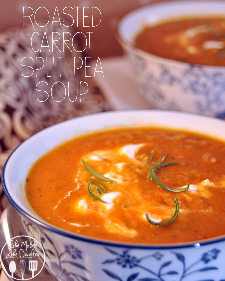 Roasted Carrot Split Pea Soup - Roasting carrots added to yellow split peas makes a soothing, flavorful soup for dinner. With rosemary and thyme, add a little sour cream for additional creaminess.