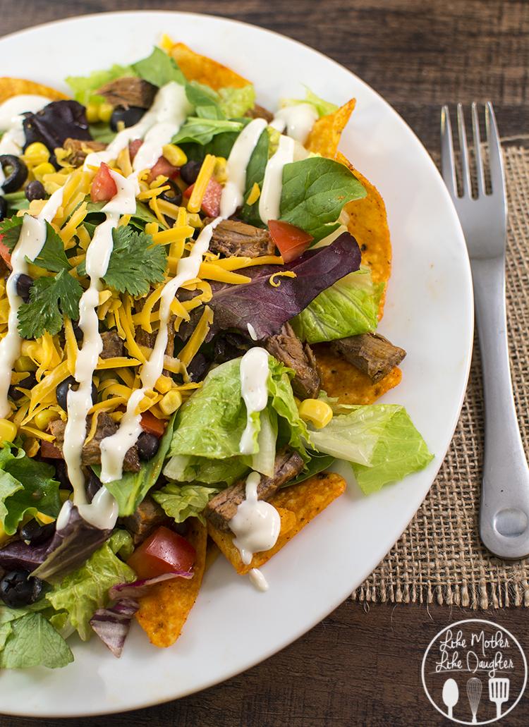 shredded beef taco salad 3