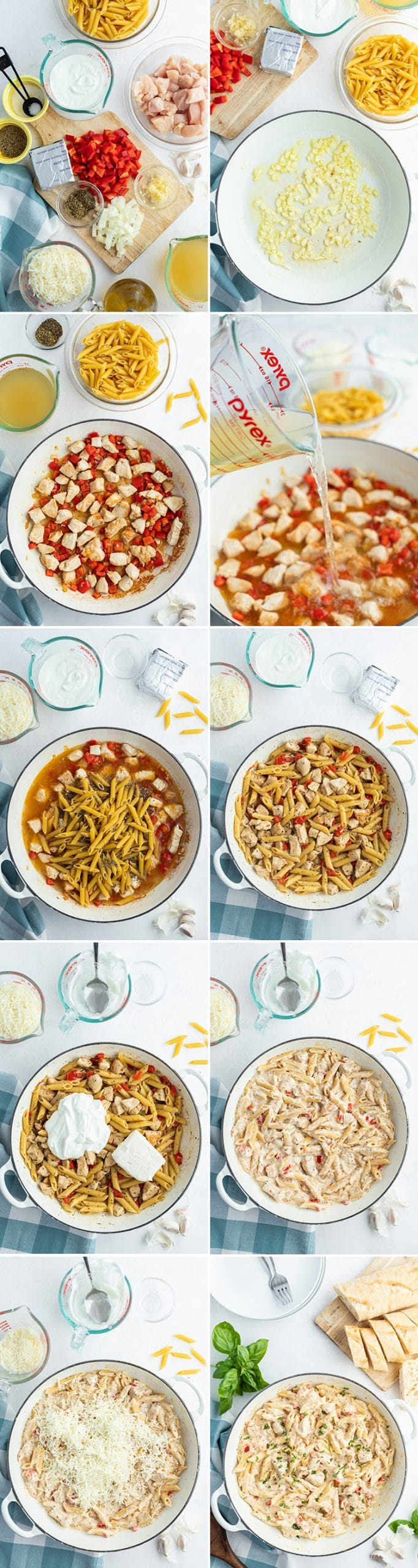 10 step by step photos on how to make cheesy chicken pasta, showing the ingredients, cooking the onion, cooking the bell pepper and chicken, adding in the chicken broth, and the noodles, cooking and adding in yogurt and cream cheese, adding in shredded cheese, and voila the finished process