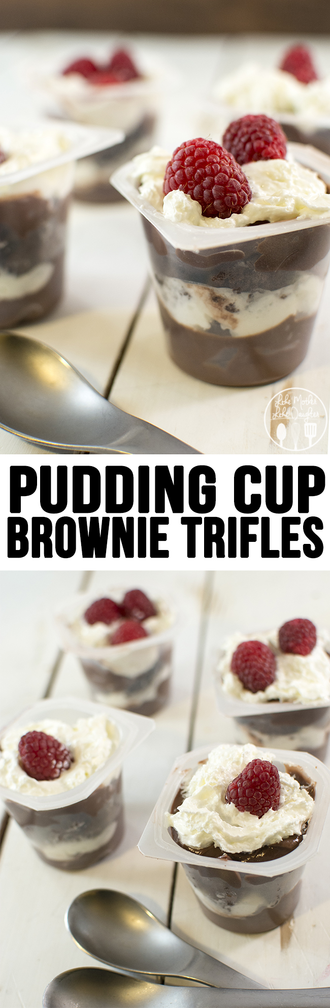 Pudding Cup Brownie Trifles - These simple and delicious pudding cup brownie trifles are a perfect elegant chocolate dessert.