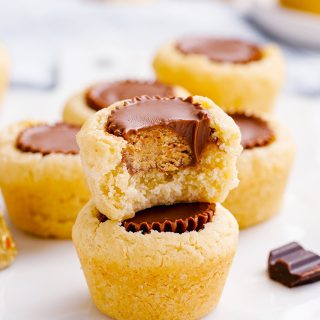 A peanut butter cup inside a cookie