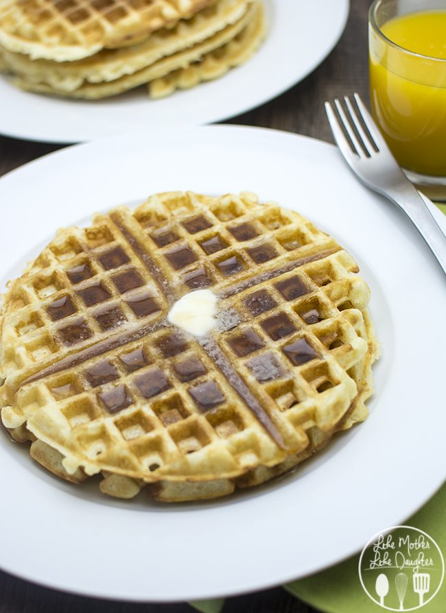 Golden Butter Waffles - These golden waffles are the perfect mix of crispy edges and soft and fluffy centers for a delicious breakfast or breakfast for dinner option!