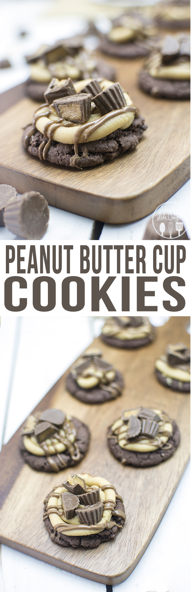 Peanut Butter Cup Cookies - These cookies combine the great taste of peanut butter cups in cookie form, with a simple cake mix cookie base, creamy peanut butter buttercream, chocolate peanut butter ganache, all topped with chopped up peanut butter cups. These just might be my new favorite cookie.