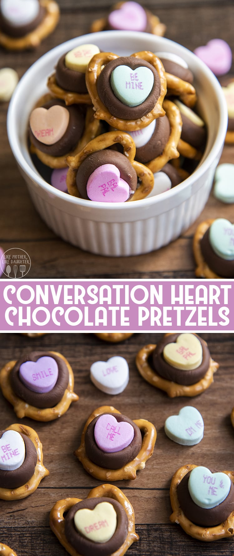 These conversation heart chocolate pretzels are such a great three ingredient Valentine's Day treat! They're a perfect adorable treat to show how much you love someone!