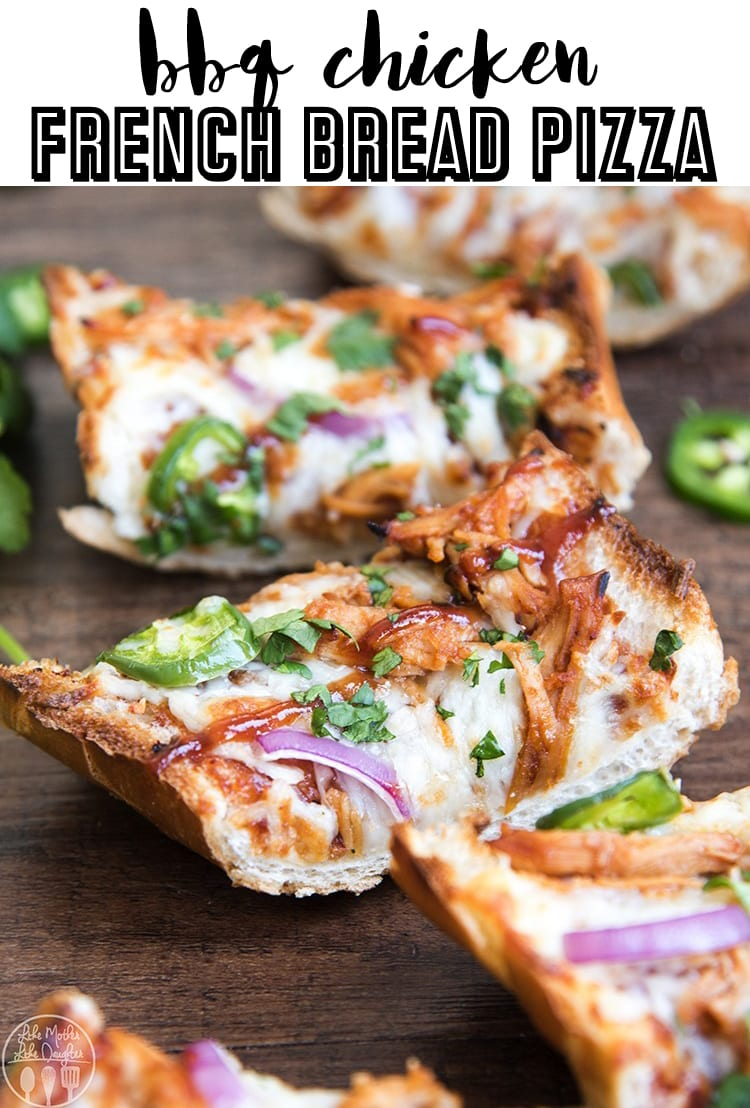 This bbq chicken french bread pizza is the perfect way to have homemade bbq chicken pizza in only about 15 minutes! #15mindinner #easydinner #weekdaydinner #bbqchicken #frenchbreadpizza #frenchbread #chicken #30minmeal #bbqchickenpizza #pizza
