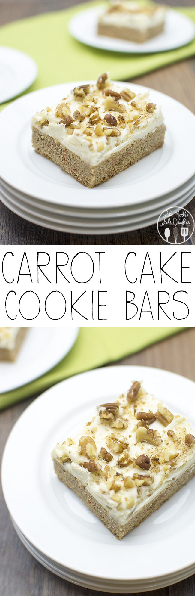 Carrot Cake Cookie Bars - these delicious and easy to make cookie bars start with a cake mix, for a spiced carrot cake topped with creamy cream cheese frosting and crunchy nuts..