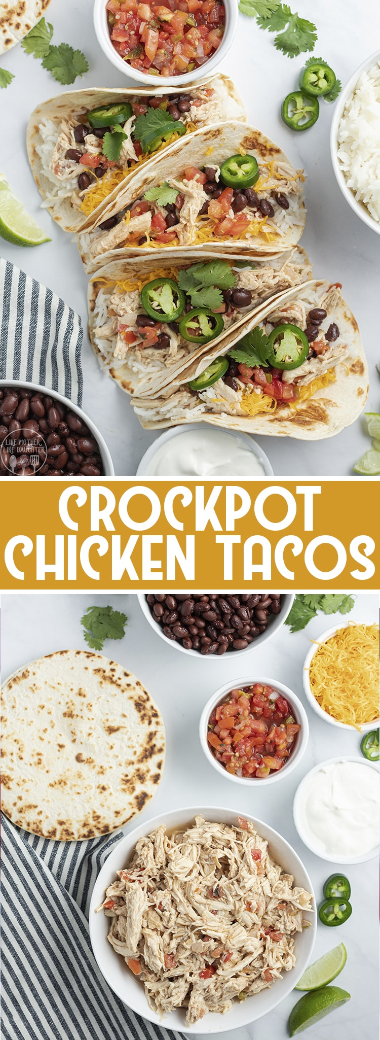 Crockpot chicken tacos are such an easy and delicious to way to cook up chicken, with only a few ingredients in the slow cooker, for tender, flavorful chicken that is perfect for tacos, burritos, nachos, and more.