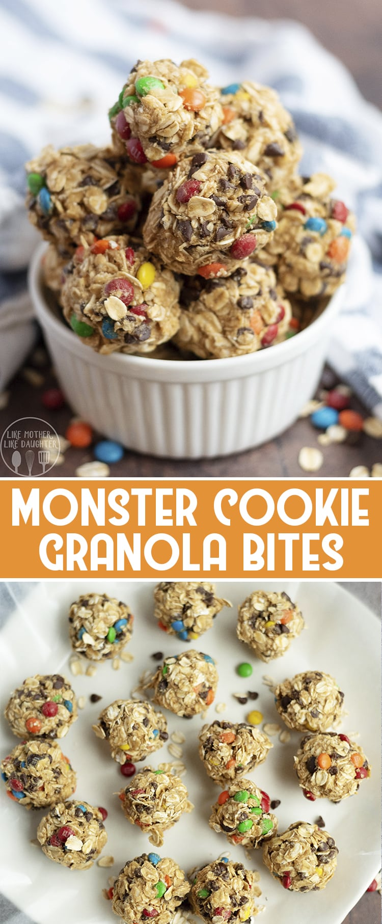 These no bake monster cookie granola bites are a delicious treat with the same great taste of monster cookies, with no flour, eggs, or added white sugar. They're perfect for a quick healthier snack when you need something sweet!