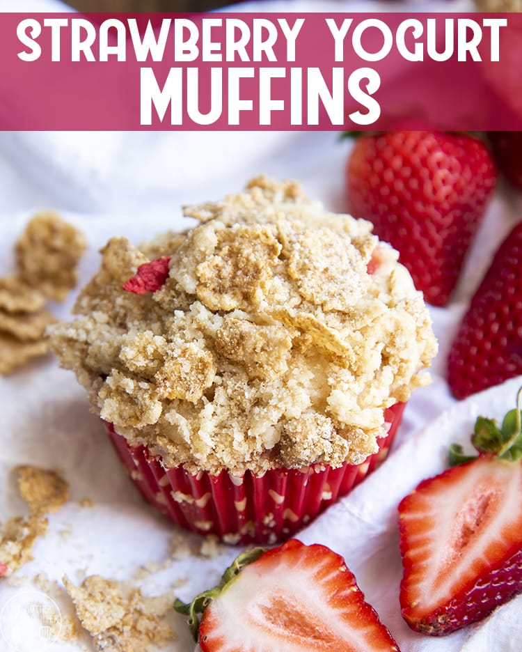 These strawberry yogurt muffins are my favorite moist and delicious muffins. With sweet strawberries in every bite, and topped with a crunchy cereal streusel topping, these are a great way to start the morning.