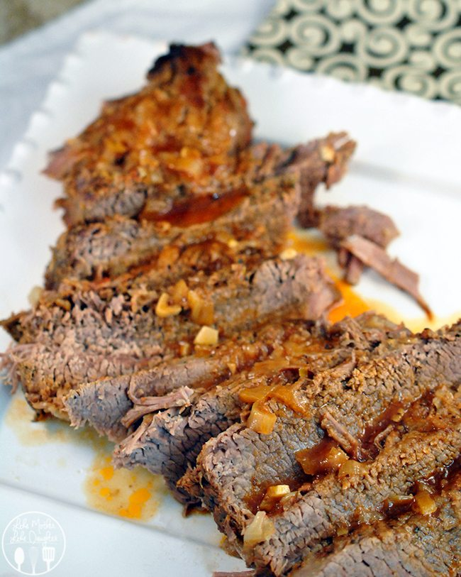 This sweet and Savory Brisket flavored has a salt rub, sweet and savory marinade cooked slowly over low temperatures for a tender, flavorful main dish.