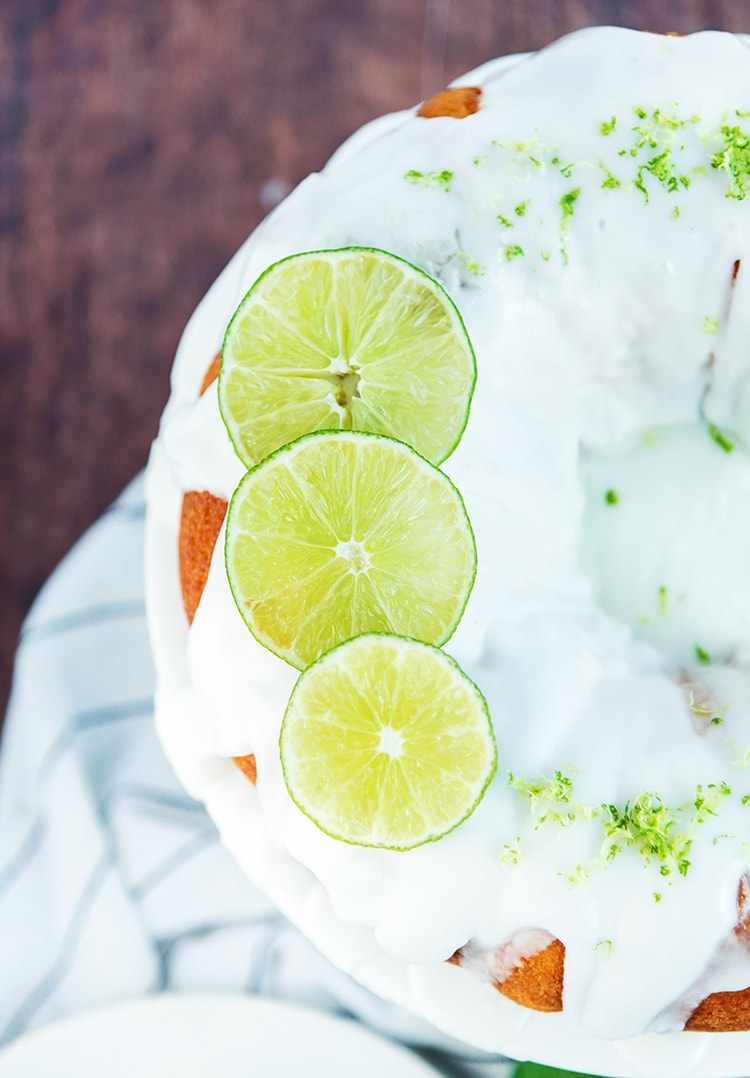 Lime Bundt Cake made with a cake mix and topped with lime glaze and lime zest
