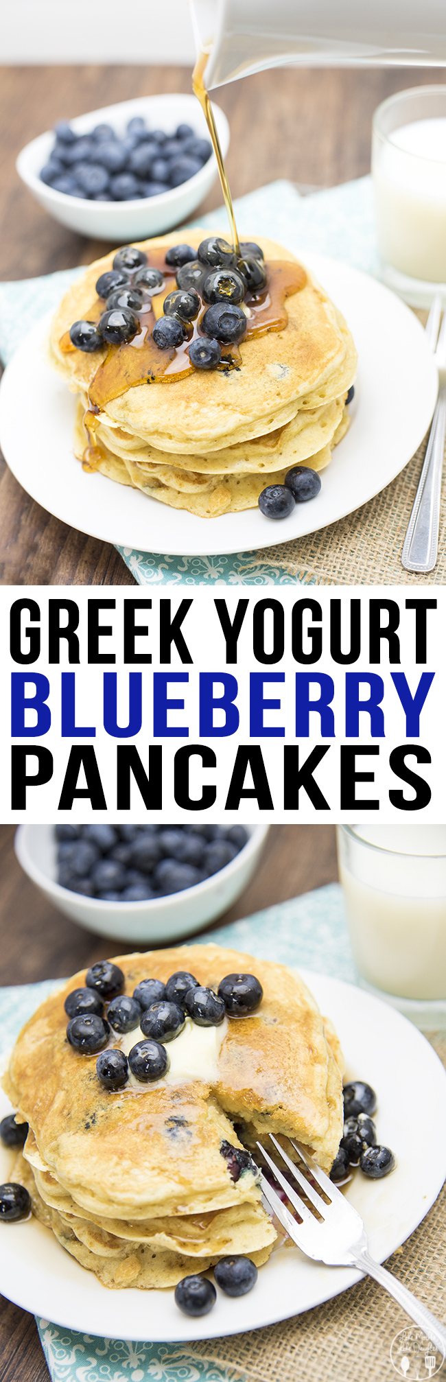 Greek Yogurt Blueberry Pancakes - These are the best pancakes ever! Packed full of flavor and even good for you too! Perfect for breakfast or dinner!