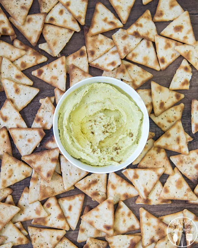 Avocado hummus dip is perfect with pretzels, pitas, and crackers.