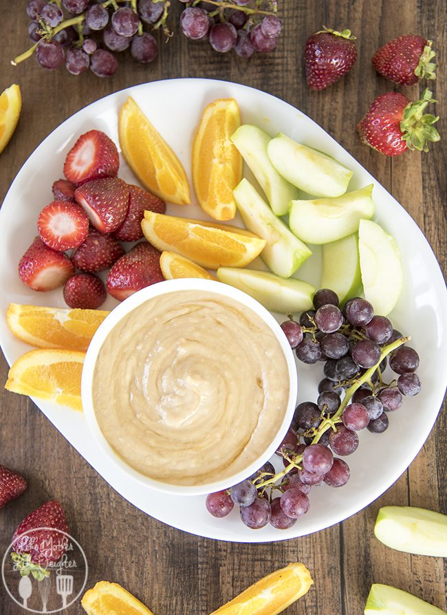 Honey Peanut Butter Fruit Dip - this amazing three ingredient fruit dip is a perfect easy to make, healthier and delicious snack!