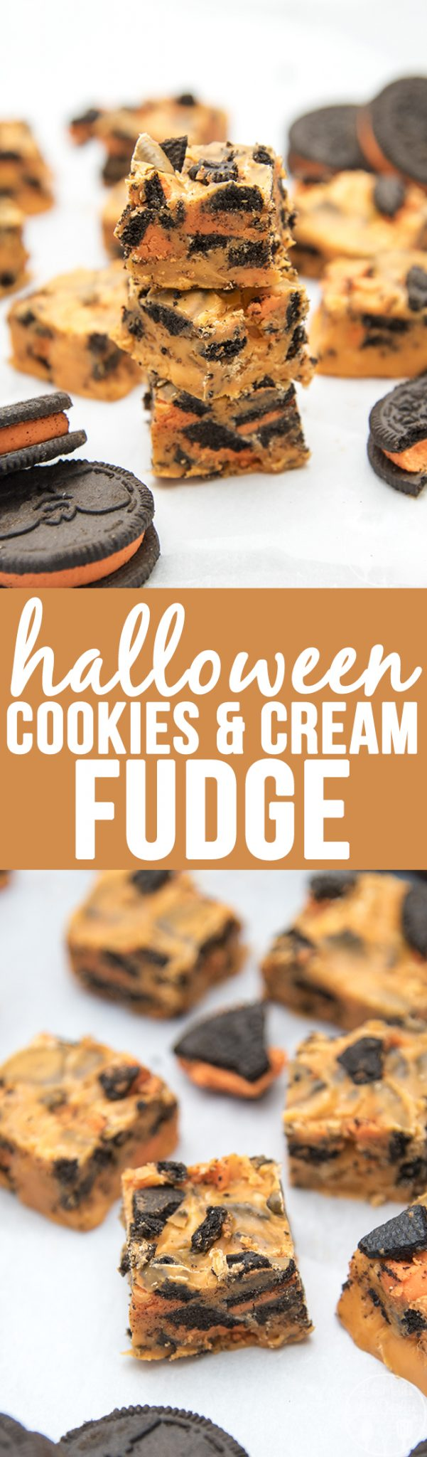 Ialloween Cookies and Cream Fudge - This 4 ingredient cookies and cream fudge is perfectly creamy and stuffed full of chunks of oreo cookies. Dyed orange to make it fun and festive for Halloween!