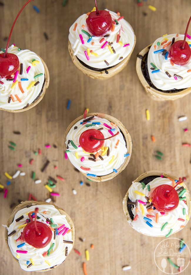 Ice Cream Cone Cupcakes - These are such a cute and simple dessert. They're easy to make and perfect for any time you want a treat, or great for a birthday celebration!