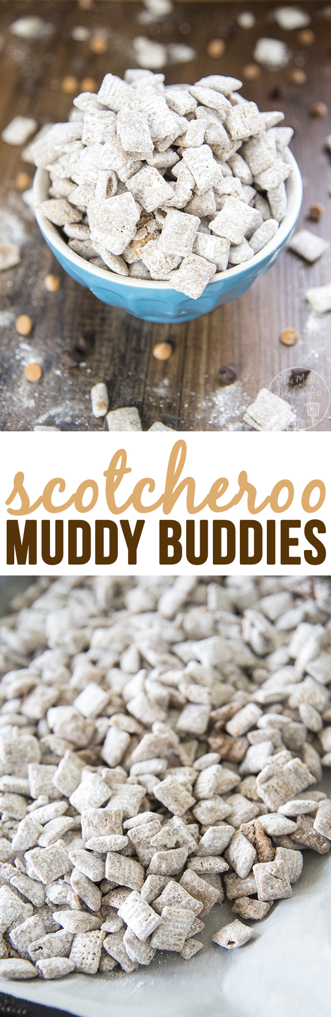 Scotcheroo Muddy Buddies - this twist on traditional muddies is just as irresistible as the original. Its got the flavors of chocolate, peanut butter and butterscotch for a delicious treat that tastes just like scotcheroo bars.