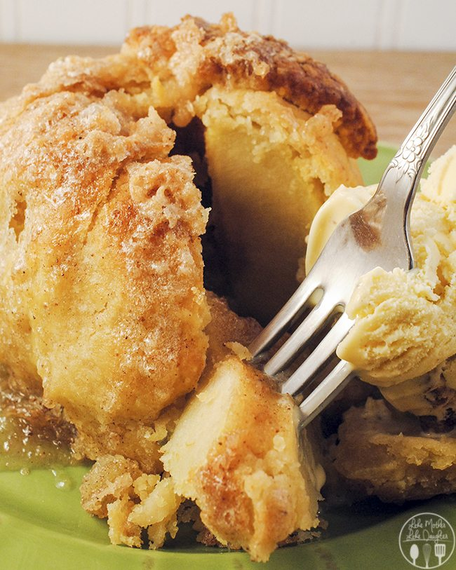 Apple Dumplings - these dumplings are a tried and true family favorite. Delicious apple baked with a cinnamon sugar dough shell, perfect served with ice cream!