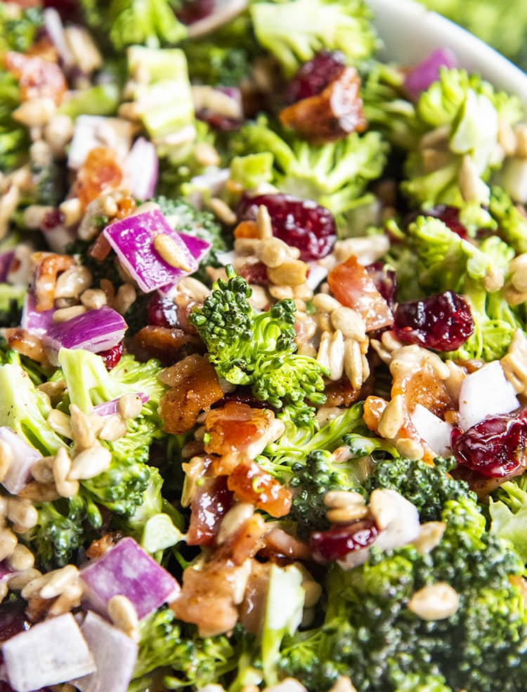 A close up of broccoli salad, with chopped broccoli, red onion, dried cranberries, sunflower seeds, and bacon, with a light creamy dressing.