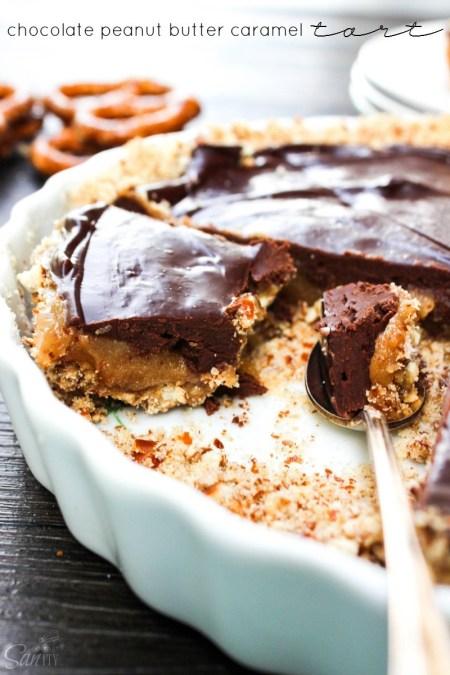 Chocolate Peanut Butter Caramel Tart featured