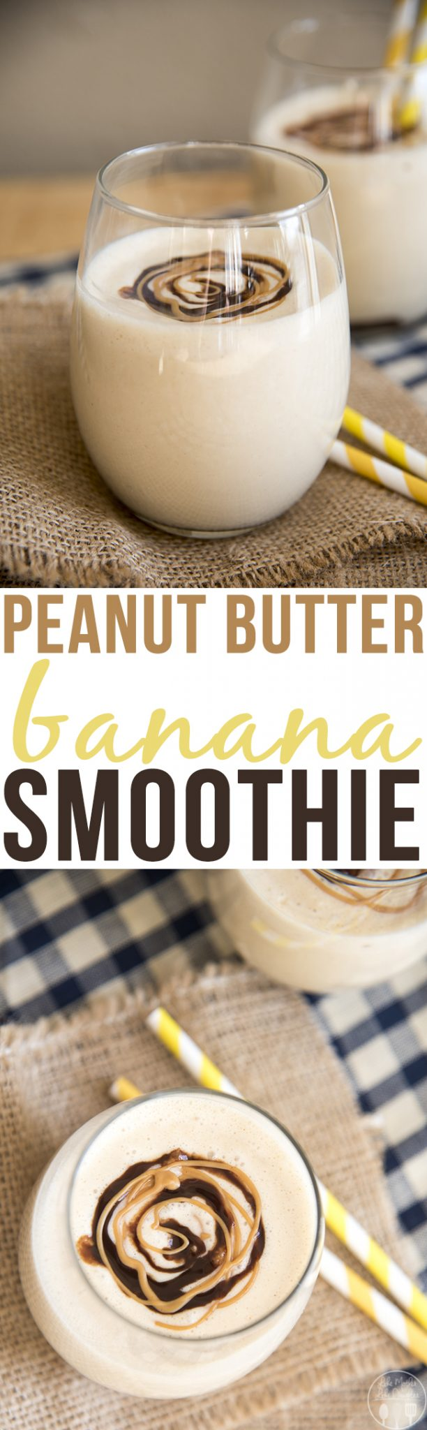 This deliciously creamy peanut butter banana smoothie is only 5 ingredients, and blends together in just minutes. Its got the perfect peanut butter and banana flavors for a delicious smoothie everyone will love!