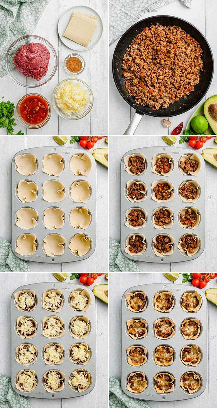 Step by step photos how to make wonton taco cups. The first shows the ingredients, ground beef, salsa, taco seasoning, cheese, and wonton wrappers. Then the cooked ground beef. Then the wonton cups in a muffin pan. Then filled with ground beef, then cheese. Then cooked in the oven.