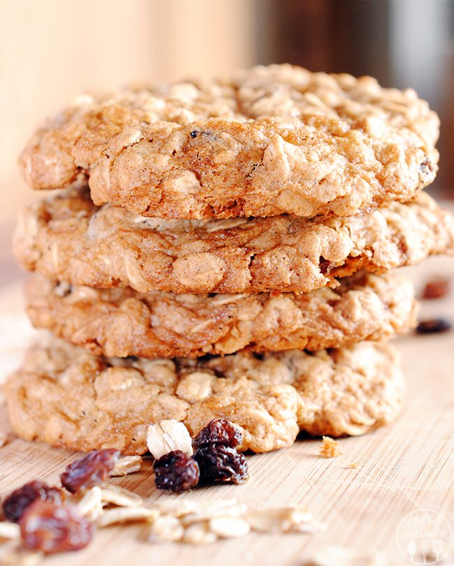 Oatmeal Raisin Cookies - These cookies are soft and chewy, full of raisins and old fashioned oats, flavored with vanilla and cinnamon for one of the best cookies there is!