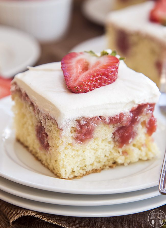 Strawberries and cream poke cake starts with a cake mix, filled with a fresh and sweet homemade strawberry sauce and topped with whipped cream. Its perfect for an easy, yet elegant, and delicious dessert that everyone will love!