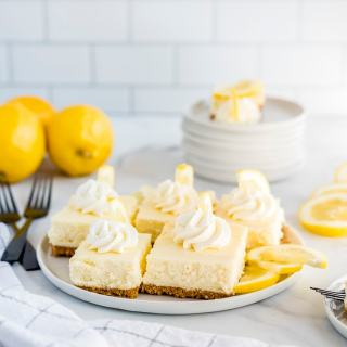 Lemon Cheesecake Bars on a plate